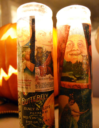 Halloween crafts for kids: decoupage candles